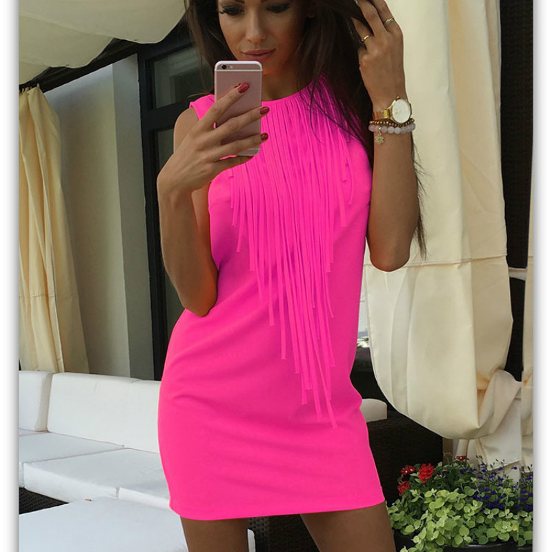 Sexy Women Tassel Fluorescent Color Summer Casual Dress Sleeveless Slim Fit Mini Dresses for Lady