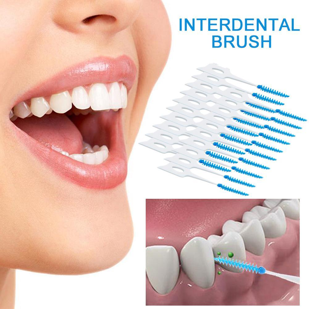 20pcs/Lot Dental Floss Interdental Brush Teeth Stick Dental Flosser Toothpick Soft Silicone Floss Pick Oral Hygiene Tooth Cleane