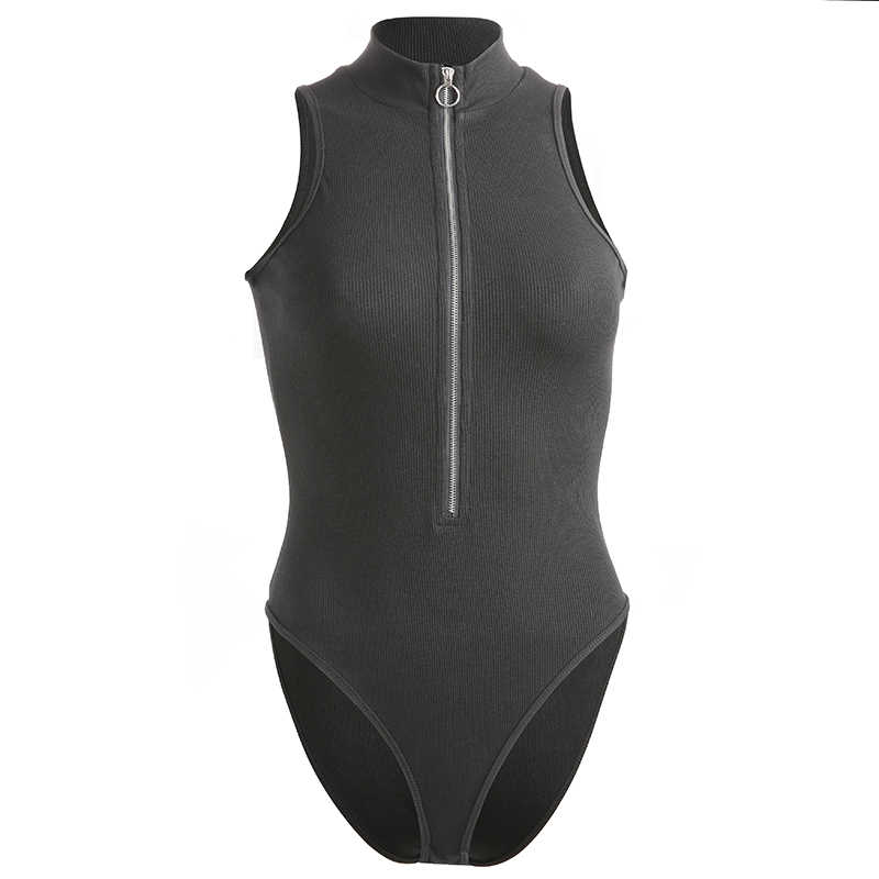 Darlingaga модные ребристые черные летние женские боди на молнии Комбинезоны без рукавов женский комбинезон 2019 боди