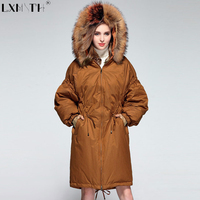 New Ukraine Winter Long Women Down Parka 2018 Raccoon Fur Loose Parka Women Jackets Zipper Hooded