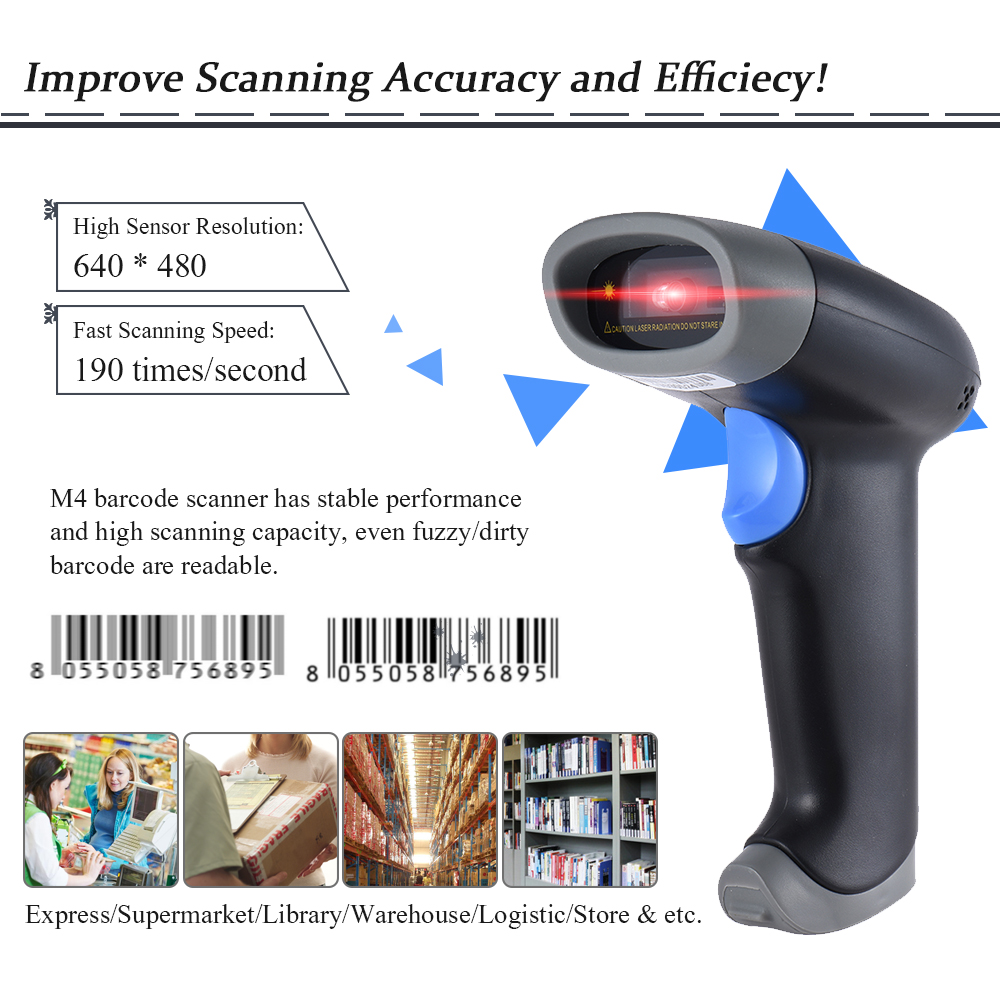 Aibecy 2D QR 1D USB Barcode Scanner CCD Red Light PDF417 Screen Scanning  Bar Code Reader for Wechat