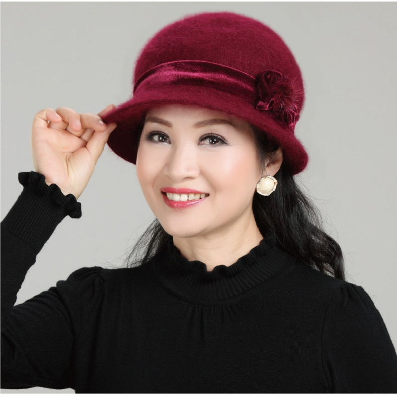 Super Warm Winter hat For Women Soft Wool Mixed Rabbit Fur Knitted Floral   Skullies     Beanies   Baggy Headwear Cap