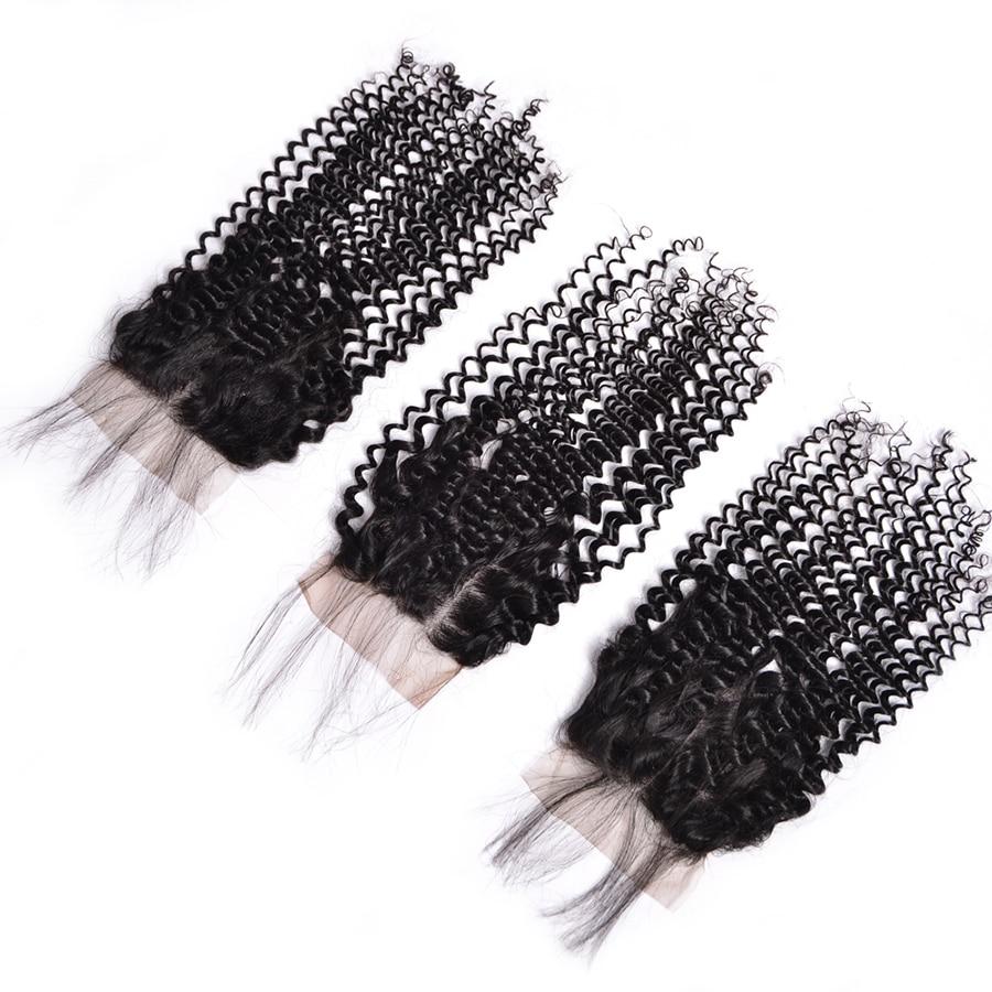 Tri / srednji / brezplačni del perujski kinky curly zaprtje 4x4 - Človeški lasje (za črne) - Fotografija 2