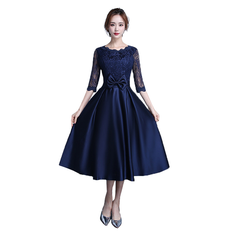 Spring New Fashion 2019   Cocktail     Dresses   Half Sleeve Illusion O-neck Lace Top Special Occasion   Dresses   Solid Color Haute Couture