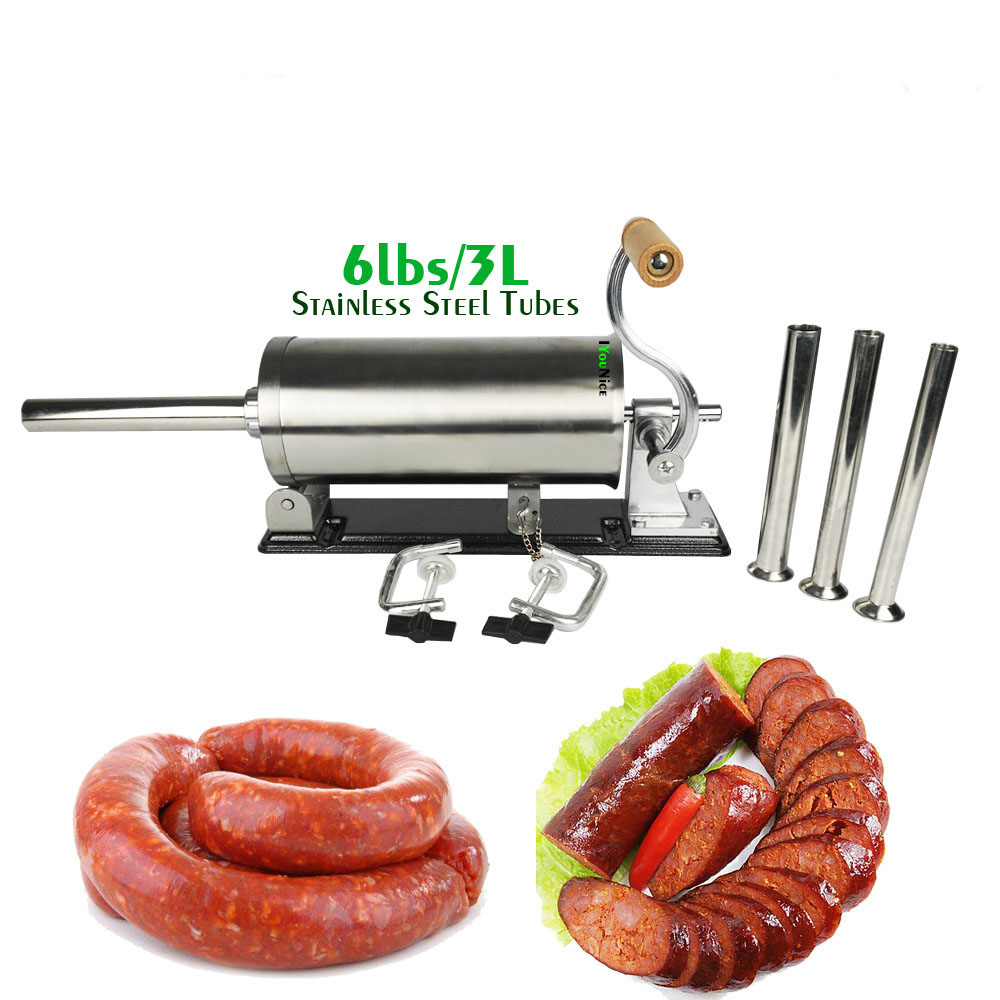 6lbs/3L Horizontal Stainless Steel Sausage Maker Manual Sausage Stuffer Machine Making Filling Vertical Sausage Filler