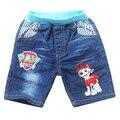 New Kids Shorts Marca Muchachas de Los Bebés Pantalones Vaqueros Pantalones Cortos de Dibujos Animados Pata de Perro Ropa de Verano Para Niños Bermudas Ocasional Infantil Menina