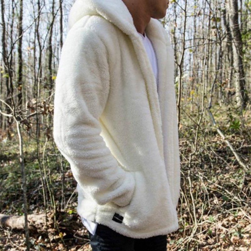 Trench Coat Men Slim Fit.Fashion Mens Autumn Winter Casual Loose Double-Sided Plush Hoodie Coat Top