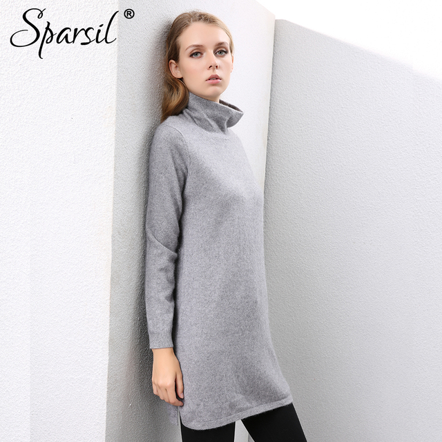 Sparsil Women Winter 100% Cashmere Sweaters Double Layer Turtleneck Knitted  Pullovers Split Hem Warm Soft Long Sweater Dress 63a716cc36c6