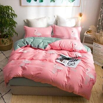Pink Flamingo Tropical rainy season Duvet Cover Sets Twin Queen King Size Bedding Sheet INS Style Pink Flamingo Girls Bedlinen