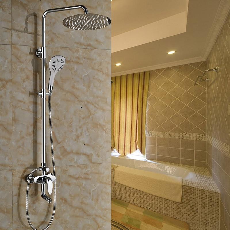 Contemporary Bathroom Shower Mixer Taps Bright Chrome Finish Wall ...