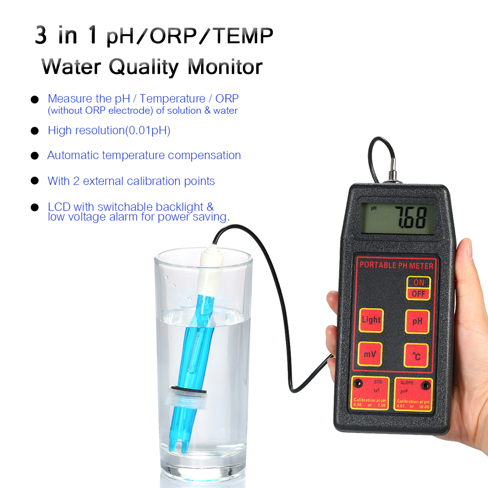 Portable pH/ORP/TEMP Meter Water Detector Multi-parameter Digital LCD Water Quality Monitor Professional Water Quality Tester цена