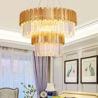 Modern Crystal Chandelier Lighting Fixture Luxury Contemporary Chandeliers Pendant Hanging Light for Home Hotel Restaurant Decor