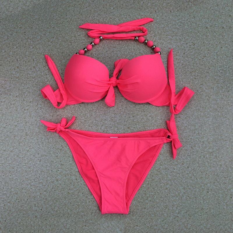 ביקיני לדחוף את המשולש בגד ים בגדי ים נשים בביקיני להגדיר מכנסיים בצד lacing גבוהה אלסטית 2019