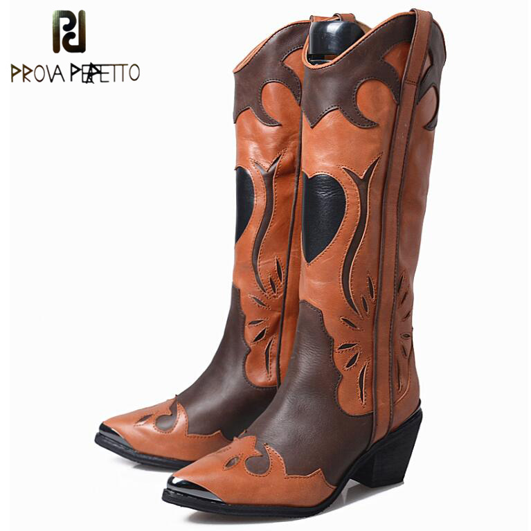 Prova Perfetto Flowers Mixed Color Knee High Boots Pointed Toe Chunky High Heel Cow Leather Knight Longe Boots For Women