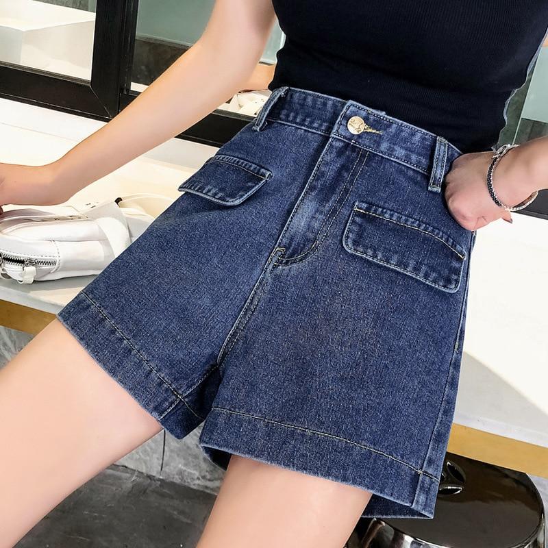 Korea Spring Summer Fashion Women Female 4xl 5xl Wide Leg High Waisted Denim Shorts , Casual Woman Pockets Jeans Shorts