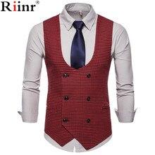 Riinr весна осень мужской жилет винтажный жилет мужской костюм жилет u-образный воротник Хаундстут мужской повседневный жилет мужская одежда