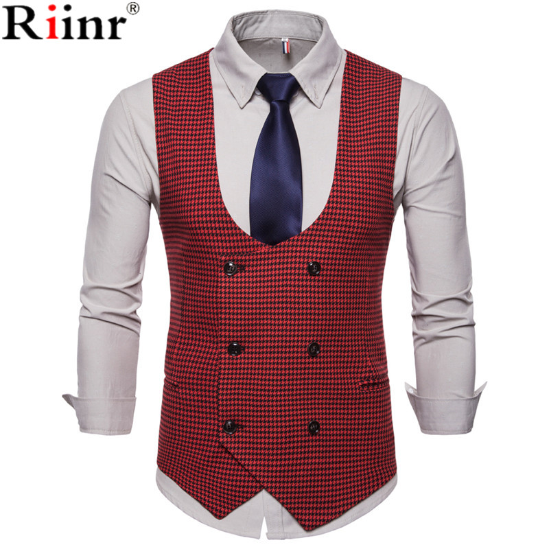 Riinr 2019 Spring Autumn Man's Vest Vintage Waistcoat Men Suit Vest U-shaped Collar Houndstooth Men's Casual Vest Male Clothing