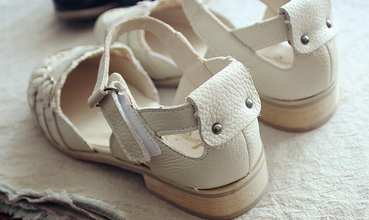 Mori Beige Rétro Chaussures black MainLe Pur Fille La Art Décontractées Appartements 10 Huifengazurrcs ChaussuresRome Sandales Faites En White Cuir À véritable Classiques076 kn0ON8wXP