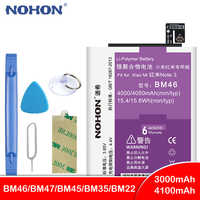 NOHON BM46 BM47 BM45 BM35 BM22 Battery For Xiaomi Mi 5 4C Redmi Note 2 3 Hongmi 3 3S 4X 3X Bateria Replacement Lithium Battery