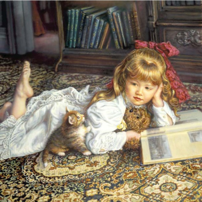 Little Girl And Cat Cute Kid Cross Stitch Kits Crafts Art Needlework 14CT Unprinted Embroidered Handmade DMC Wall Home Decor