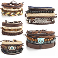 Multilayer Rock Leather Wings Peace Eyes Bracelet Men Jewelry Wood Bead Bracelets Bangles For Women Vintage Gift Vintage 1 Set