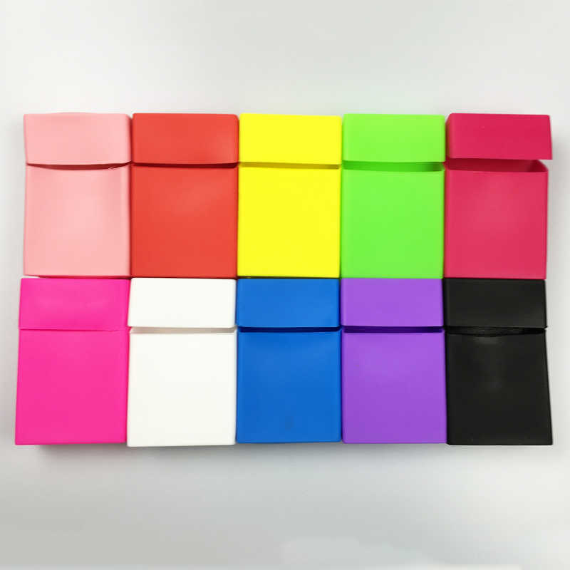 9 colors Silicone Cigarette Case Fashion Cover Elastic silicone Portable Man Women Cigarette Box cover Cigarette accessories