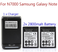 2x 2800mah Battery For Samsung Galaxy Note i9220 GT-N7000 N7000 Commercial Battery With Wall Charger Hot Selling Wholesale