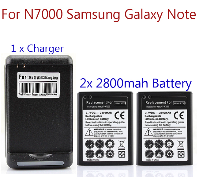 imágenes para 2x2800 mah batería para samsung galaxy note i9220 gt-n7000 n7000 batería con cargador de pared comercial venta caliente al por mayor