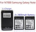 2x2800 mah bateria para samsung galaxy note i9220 gt-n7000 n7000 bateria com carregador de parede comercial venda quente por atacado