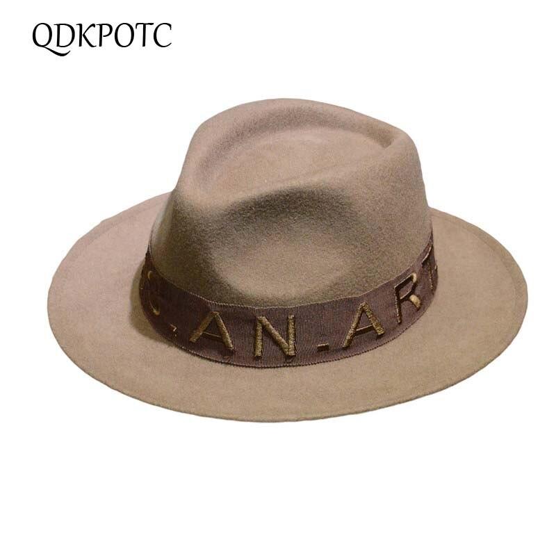 cc4009f8a621c QDKPOTC Autumn Winter Wide Brim Fedora Men Jazz Hat letter Belt Flat Brim Felt  Cap Trilby