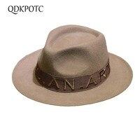 QDKPOTC Autumn Winter Wide Brim Fedora Men Jazz Hat letter Belt Flat Brim Felt Cap Trilby Wool Bowler Hats for Women Jewish Hat