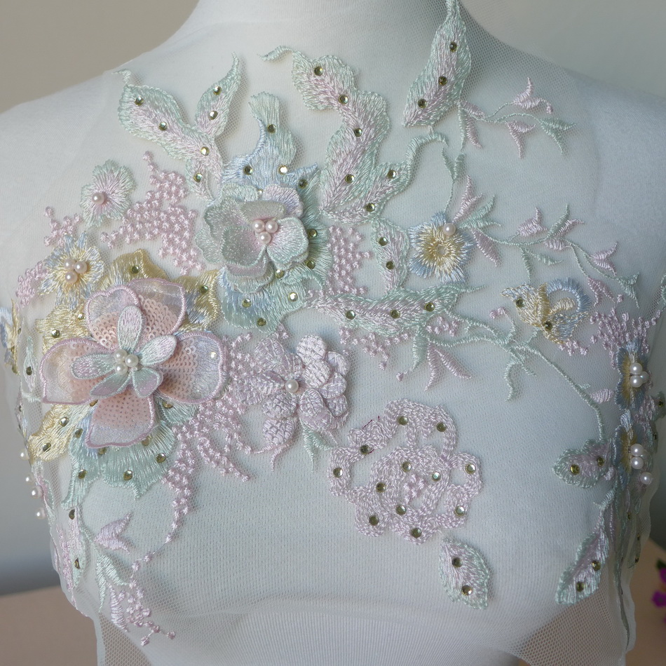 One Piece 30 23cm 3D Flower Colorful Mesh Embroidered Pearl Beaded Lace  Applique With Sequins DIY Lace Fabric Trim fd040f451a8b