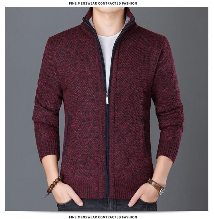 HTB13mlBsCzqK1RjSZPcq6zTepXaz Fashion Wind Breaker Jackets Men Stand Collar Thicken Fleece Jacket Solid Knit Overcoat Cardigan Male Coat Brand Men's Clothing
