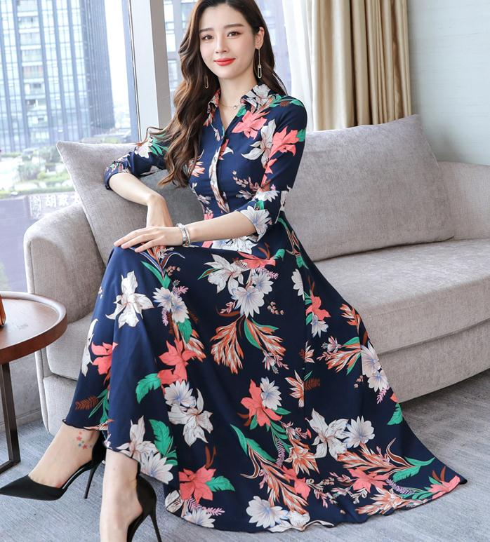 High Quality Plus Size S 3XL 2019 Summer New Arrival Elegant Turn down Collar Three quarter Sleeve Woman Chiffon Long Dress