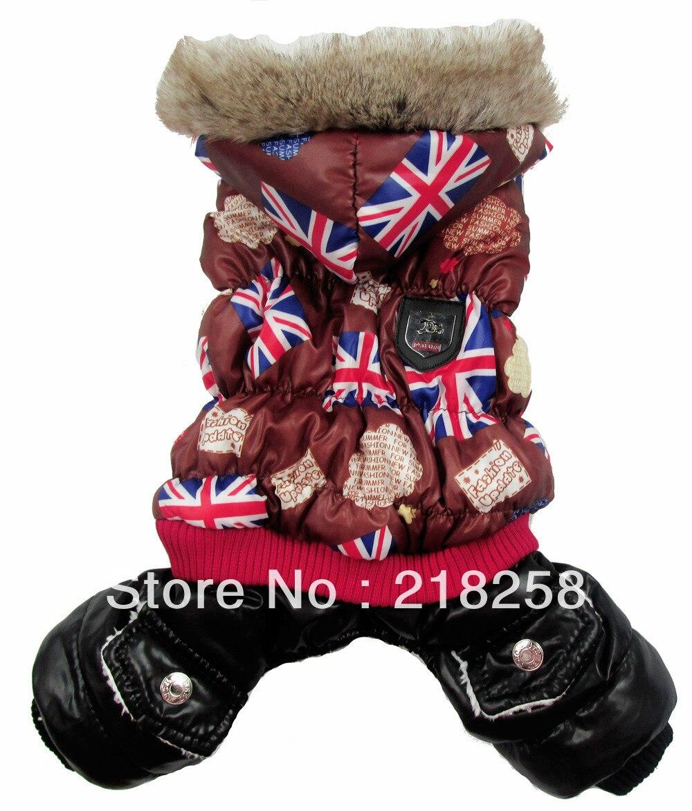 Maloobchodní káva UK vlajka Tisk Pet psi Zimní srst Loď nové oblečení pro psa