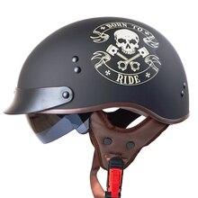 Гривна T55 открытым лицом Harley мотоциклетные шлемы с внутренней Солнечный объектив Натуральная Кожа Pad половина лицо старинные скутер Ретро шлемы