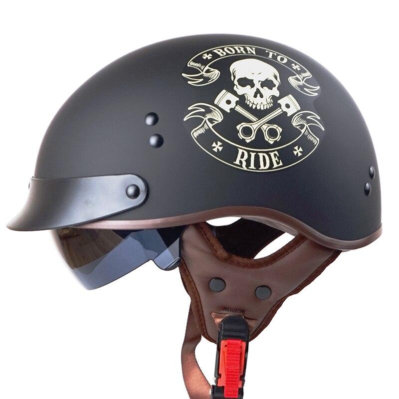 Vcoros T55 abrir rosto motocicleta capacete com lente ensolarado interior almofada de couro genuíno meia face capacetes scooter retro do vintage