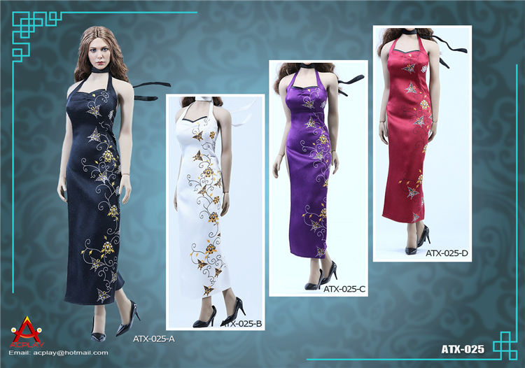 ACPLAY 1/6 ATX025 Women Dolls Model Clothing High Open Cheongsam Dress Set Four Colors for 12 Action Figure Toys Accessories new sexy vs045 1 6 black and white striped sweather stockings shoes clothing set for 12 female bodys dolls