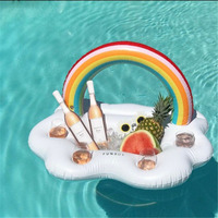 Rainbow Cloud Drink Cup Holder Beach Party Cooler 2018 Newest Inflatable Coasters Swim Pool Floats Beverage Water Fun Toys