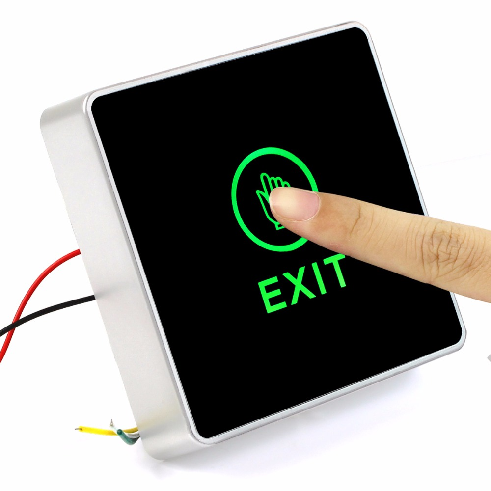 Generic DC 12V NC NO Release Button Switch Square Touch Sensor Door Exit with LED Light  ...