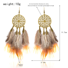 Ethnic Indian Hollow Round Feather Drop Earrings for Women Bohemia Vintage Boho Charm Earrings Dangle Eardrop Ear Jewelry Party