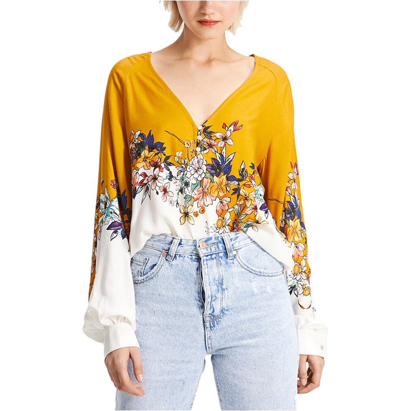 81a19ea1fb61 MUMUZI white and blue patch blouses sexy v neck shirt for women flower  print tops loose puff sleeve yellow blouse blusas blusa