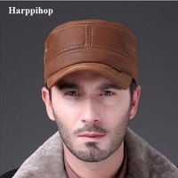 Hats L011 natural leather fur Genuine Leather cap Fashion sports running Hat 2017 new men brand army Nubuck leather cap hat
