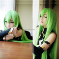 New COS WIGS Rebel Lulu repair C.C Long Cosplay Golden Green Straight Wig 100cm / Free Shipping