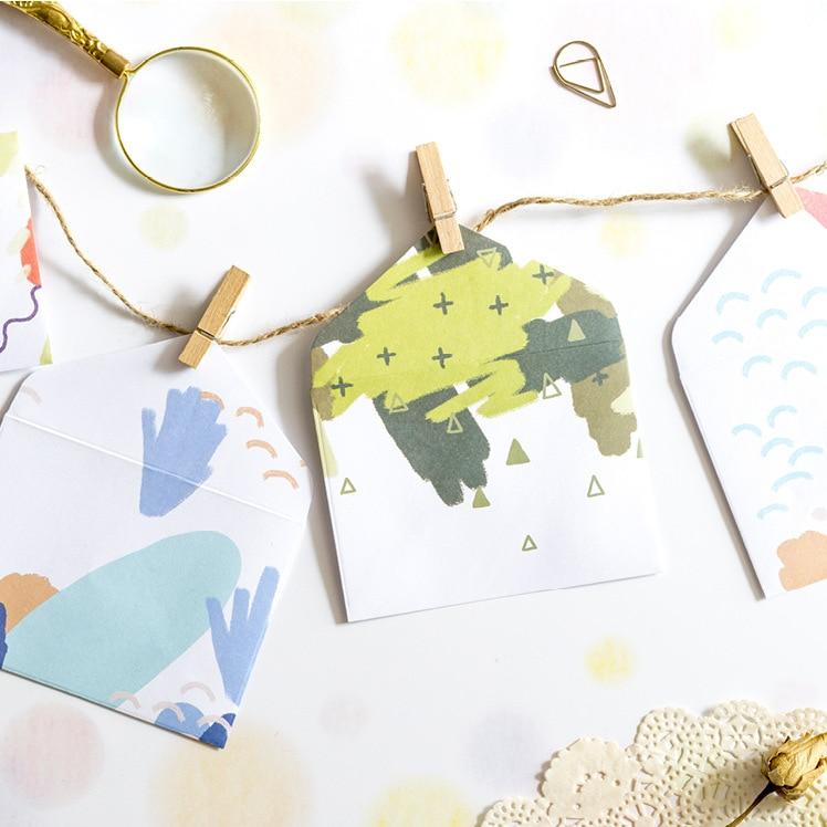 12PCS/PACK Kawaii 10*7.5cm Paper Small Envelope Cute Plaid Geometric Ink For Card Scrapbooking Gift School Supplies sl1548