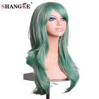SHANGKE 28 Long Wavy Synthetic Wigs For Black Women Red Hair Heat Resistant Synthetic Fake Hair