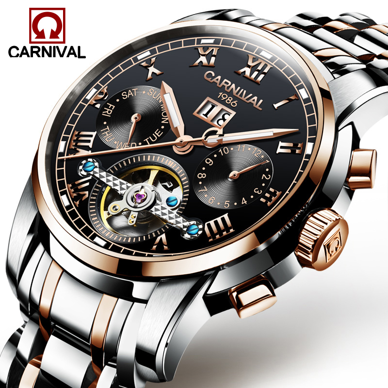 Carnival Watch Men tourbillon Automatic Mechanical Rose Gold Stainless Steel Waterproof multifunction Black Dial Watches цена и фото