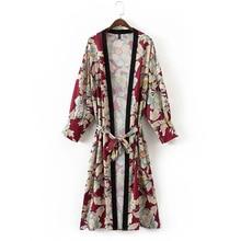Винтажные с цветочным принтом с поясом длинное кимоно рубашка женская 2017, Новая мода повязку кардиган Лоскутная Повседневная Блузка Femme Blusa