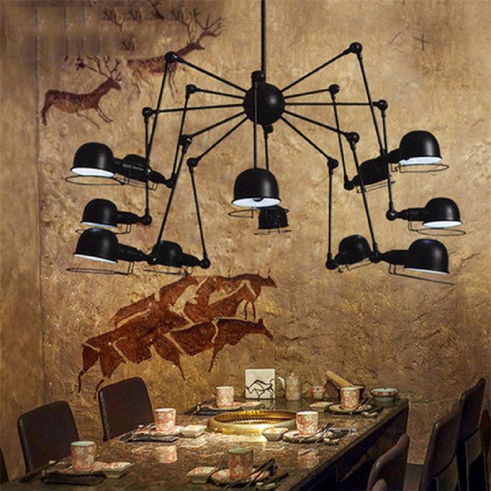 Ac110v 220v 2017 new design spider hanging chandeliers lamp ac110v 220v 2017 new design spider hanging chandeliers lamp mechanical swing arm lustre lighting fixture luminaire lamps in chandeliers from lights arubaitofo Image collections