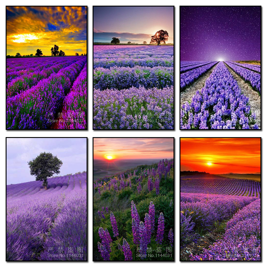 Landscape Diamond Embroidery Crystal Full Square Diamond Sets Decorative Diy Diamond Painting Cross Stitch Purple Lavender Field